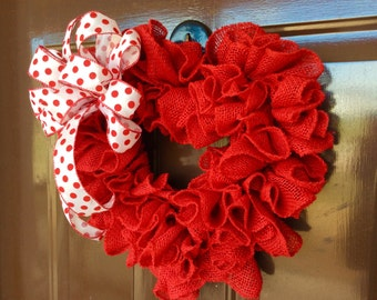 Heart shape red burlap wreath,valentines day wreath ,light weight fit in screen door wreath
