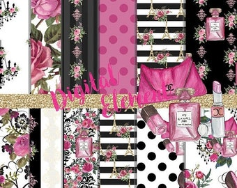 ON SALE Digital Paper, Seamless Digital Scrapbook, Paris Digital Paper, Watercolor Fashion Paper, Pink and Black Digital Paper. No. P195