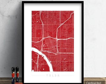 Tulsa map etsy for Home decor tulsa