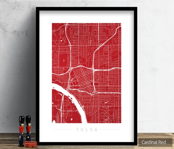 Home Decor Tulsa: Tulsa Map City Street Map Of Tulsa Oklahoma Art Print