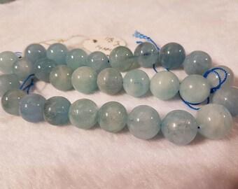 14mm Aquamarine Smooth Round beads, Perfect Round Beads- Wholesale Price- Length 40 cm