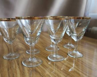 USSR vodka shot glasses set of 7 vintage gold rimmed
