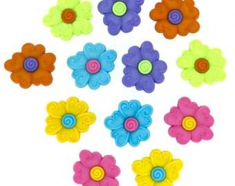 Dress it up buttons - Swirl Centre Flower
