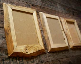 Rustic wood photo frame, Wood Photo frame, Natural wood photo frame, Picture frame, Reclaimed wood photo frame