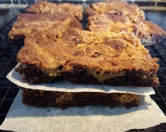 Homemade Peanut Butter Swirl Brownies - 12 Brownies