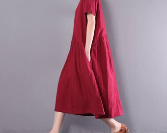Women casual dress summer dress embroidery dress simple linen dress asymmetrical tunic