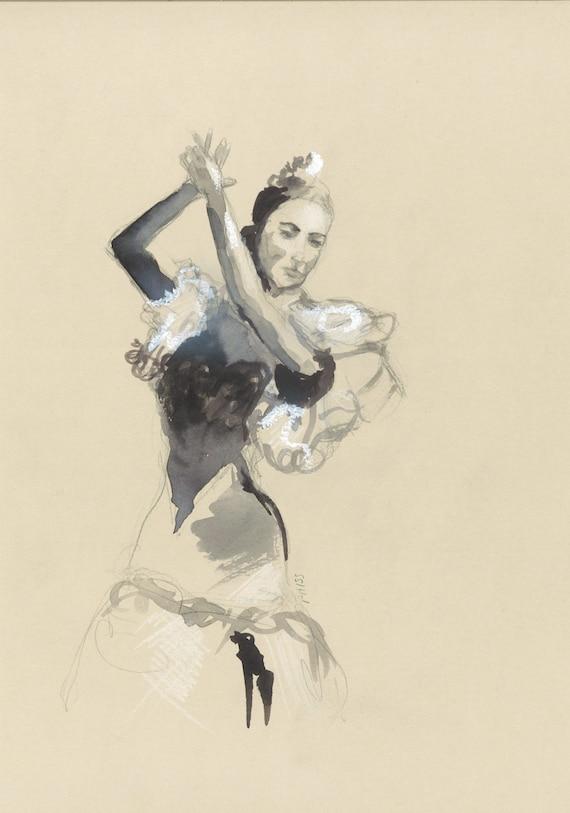 Dessin danseuse de flamenco aquarelle pastel gras - Dessin danseuse de flamenco ...