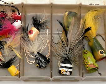 Box of Fly Rod Popper Fishing Lures