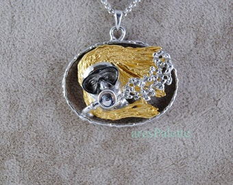 Woman Diver Necklace ''Lady Sea''-Special Design-Handmade-925 Silver