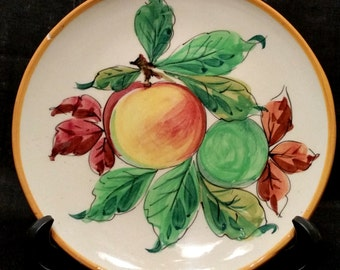 Italian Ceramic Wall Plate, Tuscan Style, Decorative Plate, Vintage 1970's, Fruit Design Plate, FREE Shipping