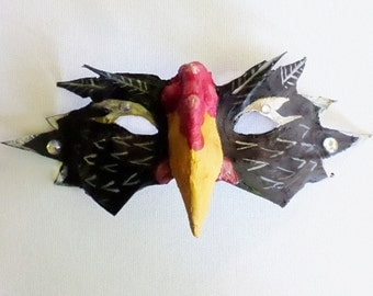 Rooster half mask, masquerade mask, Year of the Rooster, barnyard animal,