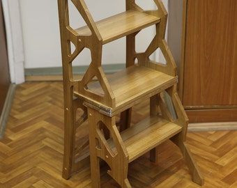 Step Stool Chair - Chair Ladder - Step Ladder - Foot Stool - Wood Step Stool : kitchen step stool with seat - islam-shia.org