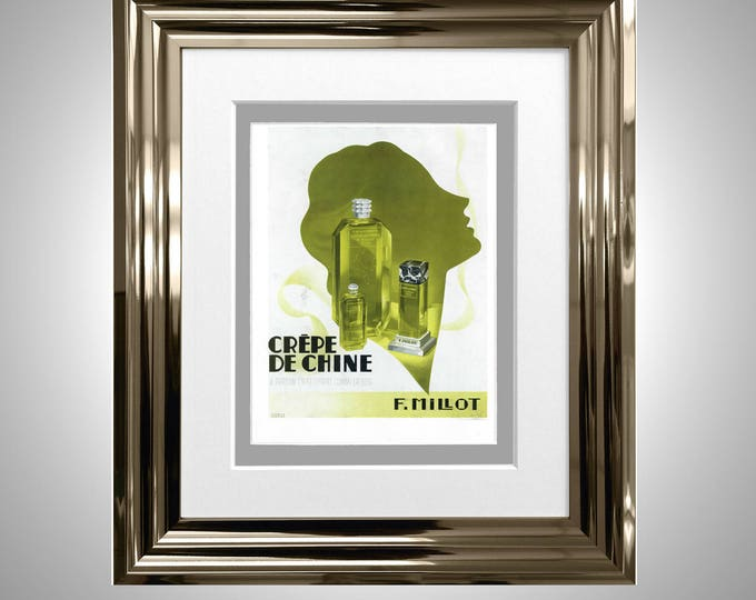 Vintage Perfume Original Style Print Classic Advertising Framed & Double Mounted Crepe De Chine