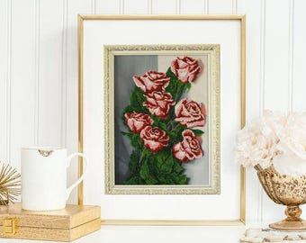 embroidered beaded czech glass rose floral beaded picture flower art hand embroidery needlecraft gift for her gift for wife beaded beadwork