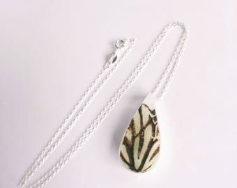 Real Butterfly Wing Resin Pendant On A 925 Sterling Silver Chain, Teardrop Resin Necklace, Butterfly Necklace