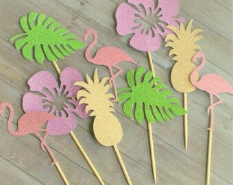 Cupcake Toppers, Luau Theme Party, Luau Cupcake Toppers, Luau Party Decorations, Hawaiian Party Decorations, Tropical Party Decorations
