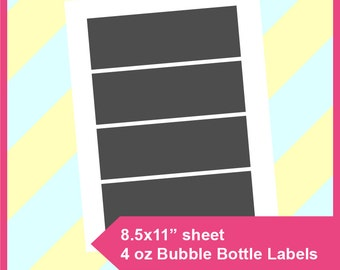 "Instant Download, 4oz bubble bottle label Template,  PSD, PNG and SVG Formats,  8.5x11"" sheet,  Printable 080"
