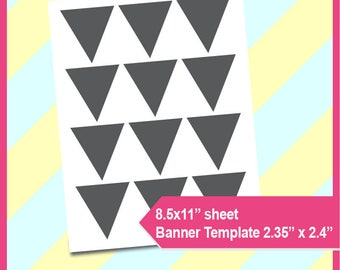 """cake bunting banner Template,  triangle template, flag template PSD, PNG and SVG Formats,  8.5x11"""" sheet,  Printable 023"""