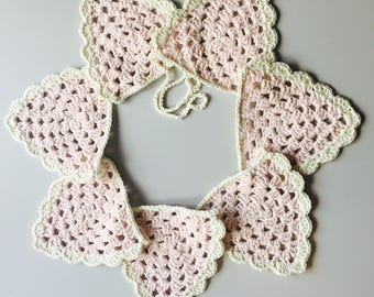 Crocheted vintage bunting