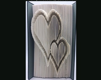 Folded Book Art- 2 Hearts 2 -  Christmas - Valentines Gift - Love
