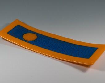 Platter-3-Curved-Fused-Glass-Panel-Blue-Crackle-Orange-Frame
