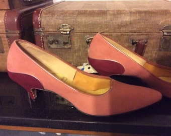 Pavilia by Johansen made in US- two tone pink - silver accented GORGEOUS 10 heel