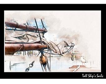 Tall Ship's Sail Watercolour - Canvas/Decal/Vinyl/Poster