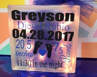 Birth announcement, Glass Block light, Uniquefactory25