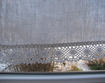 Privacy Linen Cafe Curtain Romantic Cafe Curtain with Lace Edge Trim Window Panel French Country kitchen Curtain.Custom Curtain