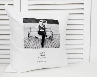 Personalized cotton pillow with photo