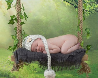 Baby photography prop rustic wooden swing newborn