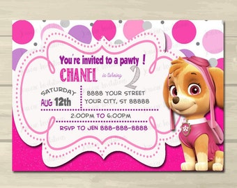Paw Patrol Birthday Invitations , Sky ,Girl ,Pink ,5x7 , Printed or Digital File *** FREE SHIPPING