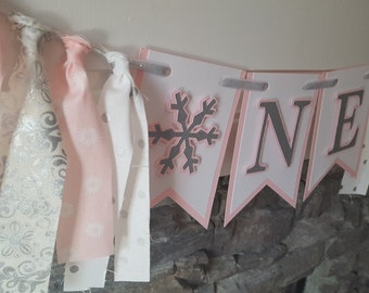 pink winter ONEderland high chair banner *pink onederland *pink and silver winter ONEderland *first birthday banner *winter ONEderland party