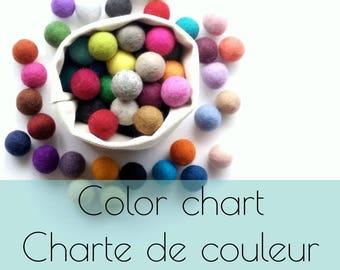 Felt balls color chart/2.5 cm/wool pompom/DIY/bulk/choice of color/multicolor/felting/wholesale/creative project/Québec/Canada