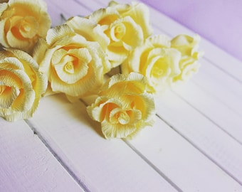 IVORY ROSES rustic wedding, table decorations, CREPE paper roses, paper flowers, wedding design