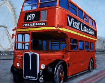 London Red Bus, original oil painting, Gift for him, gift for car lover, Car gift for men, Desk art London cityscape, small works of art
