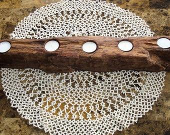 Rustic Driftwood Candle Holder, Driftwood Tea Light Holder, Driftwood Ornament, Handmade, Centerpiece, Home Decor, Great Gift For Her
