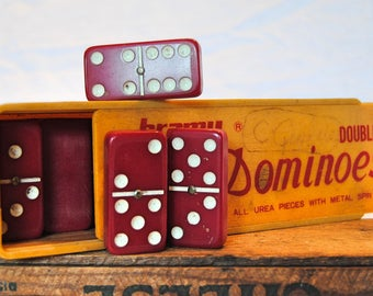 Vintage Bramy Double Six Dominoes - Red Urea with Metal Spin