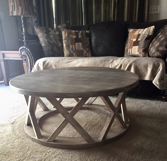 42 Round Rustic X Brace Coffee Table By Rscustomdesign On Etsy