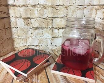 Basketball  Tile Drink Coasters, drink coasters, tile coasters, basketball, sports, coasters, sports coasters, basketball drink coasters
