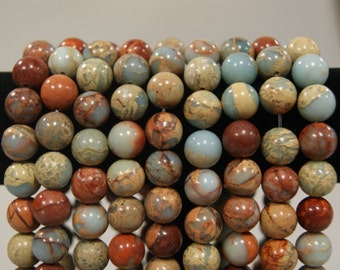 African Blue Opal 8, 10 & 12 MM Round Smooth Gemstone Beads -15 inch strand