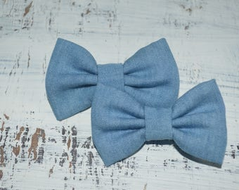 Blue Denim Chambray Pigtail Bow Set