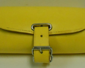 Handmade Leather Bicycle Bike Handlebar Seat Bag With Buckles Yellow NEW