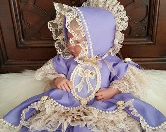 Posh Baby Lace Dress, Purple Baby Dress, Baby Lace Dress, Beige Lace Dress, Baby Birthday Dress, Baby Couture Dress, Girls Dress, Pupolino.