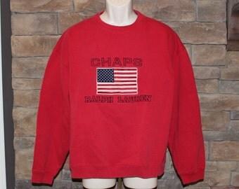 Vintage Chaps Ralph Lauren Sweatshirt   Flag Pullover  Spellout    USA  Men's Large  Red