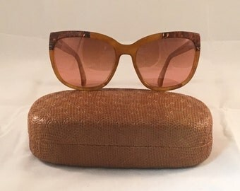 Rare Vintage Women's Serengeti Drivers by Corning Optics Tortoise & Amber Sunglasses w/ Case - Rose Tint Lense