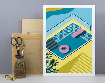 Graphic Summer Pool Print