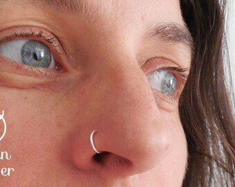 Fake Sterling silver nose ring, 0.925. Made at your size. 18, 20, 22, 24 gauge.