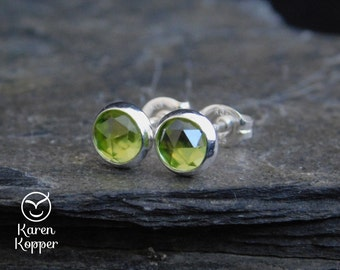 August birthstone earrings - Natural green peridot gemstone rose cut cabochon, 6mm, in a sterling silver bezel, Ready to ship. 184