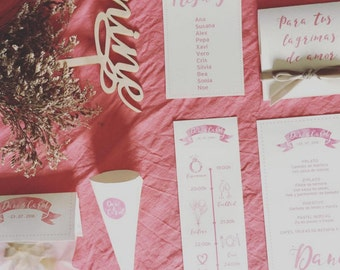 Romantic collection full Stationery for your wedding ( 50 guest)
